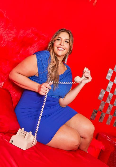 Asoph Curvy Womens Royal Blue Glitter Contrast Party Dress