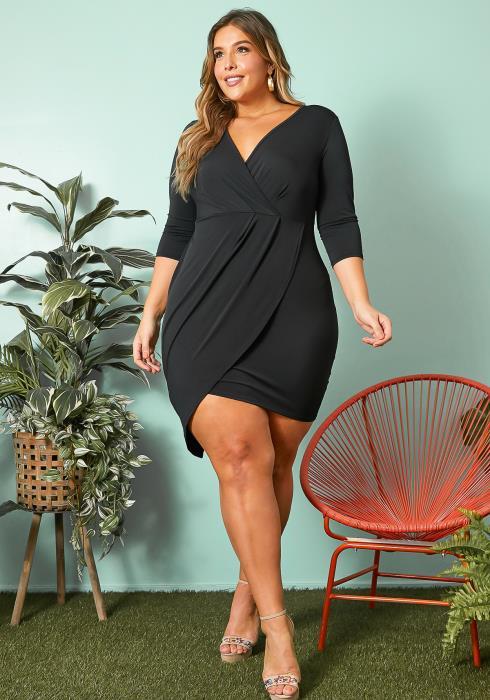 Asoph Plus Size Asymmetrical Wrap Dress