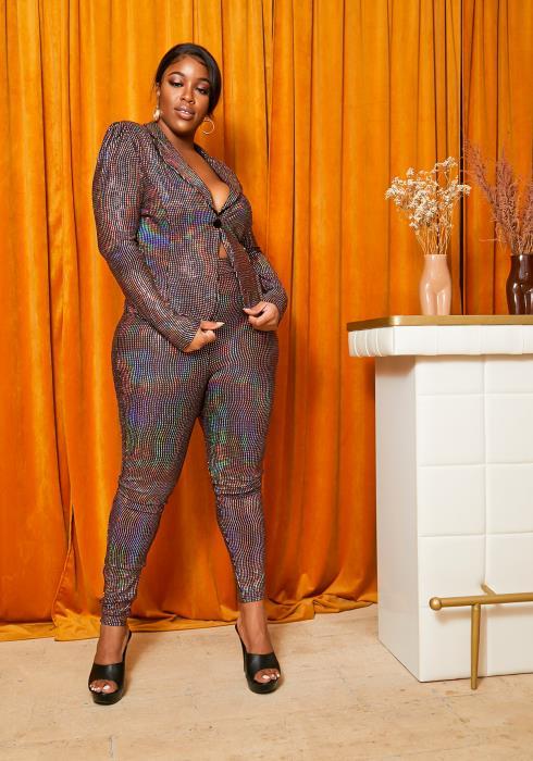 Asoph Curvy Womens Light Show Blazer & Skinny Pants Set