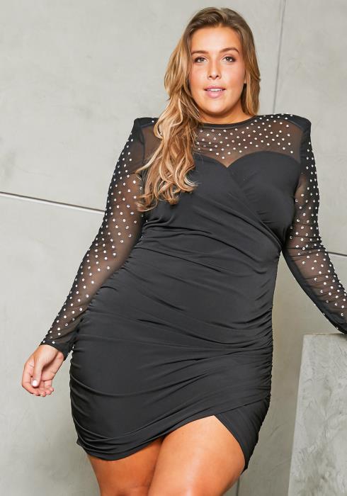 Asoph Plus Size Jewel Stud Mesh Dress