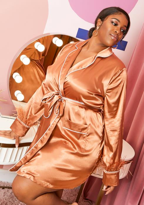 Asoph Plus Size Silky Bronzed Womens Home Robe