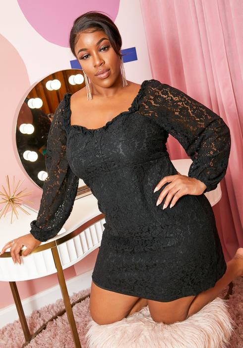 Asoph Plus Size Floral Lace Square Neck Womens Mini Dress