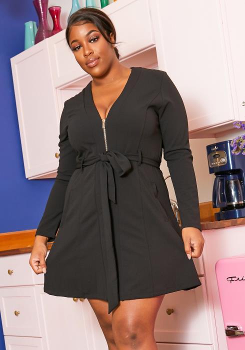 Asoph Plus Size Classy Fit & Flare Womens Mini Dress