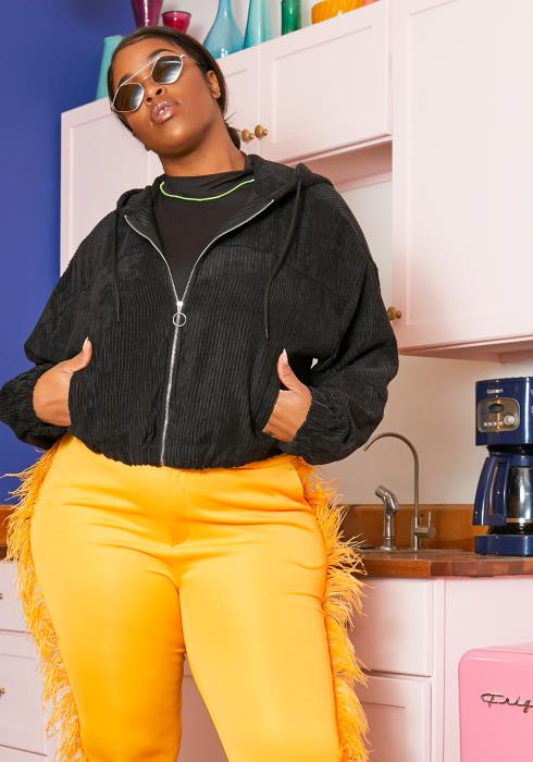 Asoph Plus Size Hipsters Bomber Jacket
