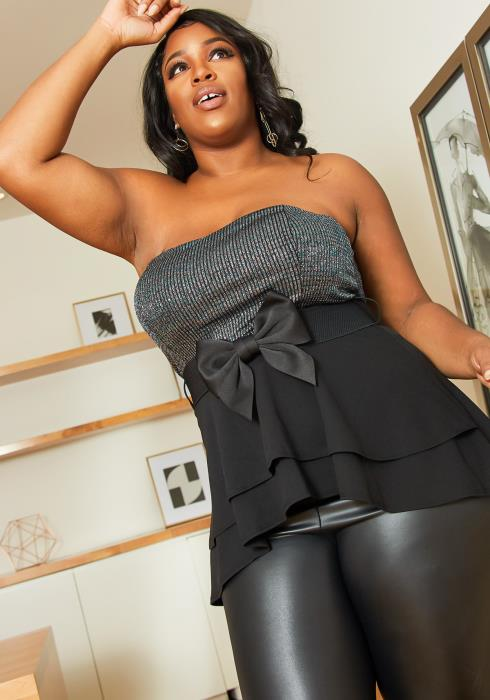 Asoph Plus Size Tube Top Bow Top