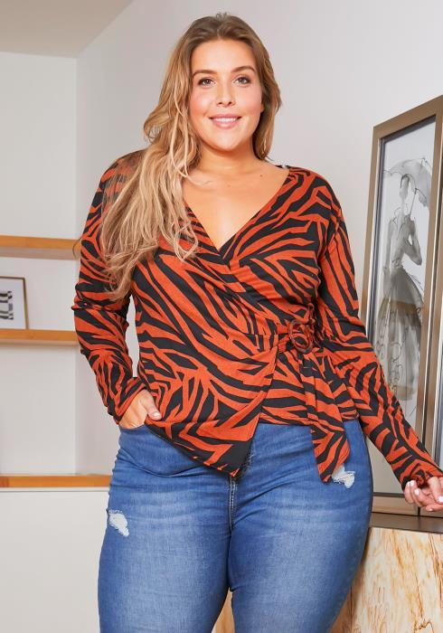 Asoph Plus Size Brown Zebra Stripe Blouse
