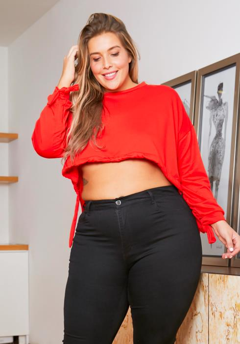 Asoph Plus Size High to Low Womens Cropped Sweater
