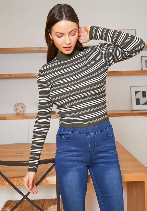 Tansy Womens Olive Striped Mock Neck Long Sleeve Top