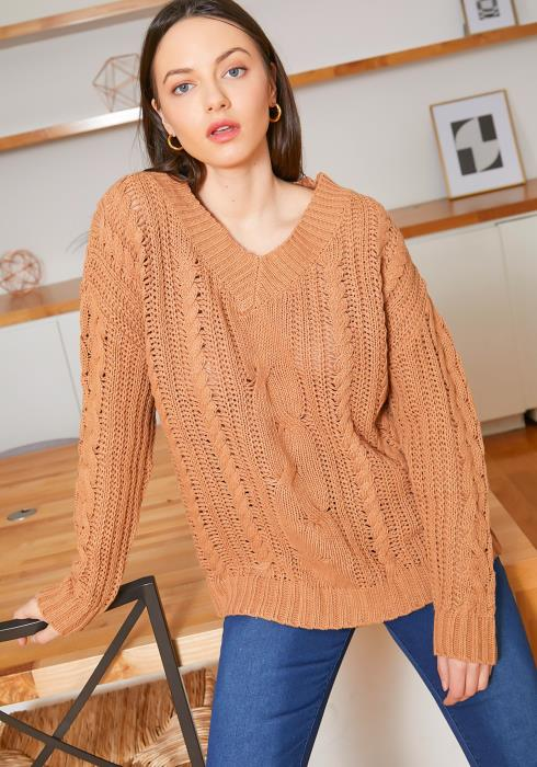 Tansy Desert Sand Cable Knit Womens V Neck Sweater