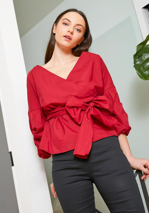 Tansy Womens Ribbon Wrap Ruched Blouse