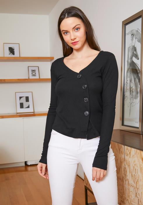 Tansy Swang Button Front Womens Basic Long Sleeve Top