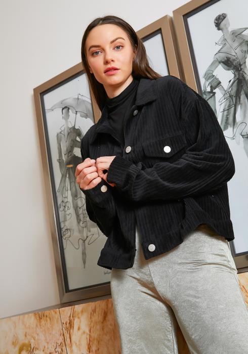 Tansy Black Corduroy Womens Lightweight Jacket