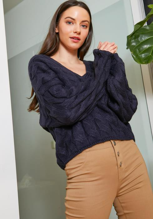 Tansy Thick Cable Knit Womens Navy Sweater