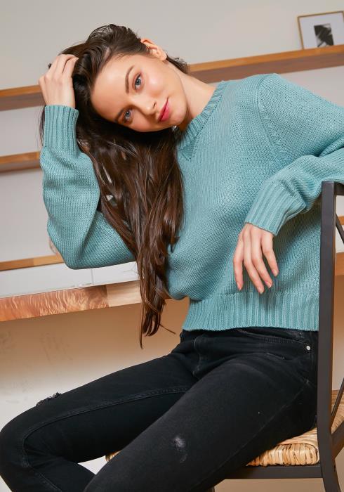 Tansy Mint Blue Waffle Knit Women Sweater