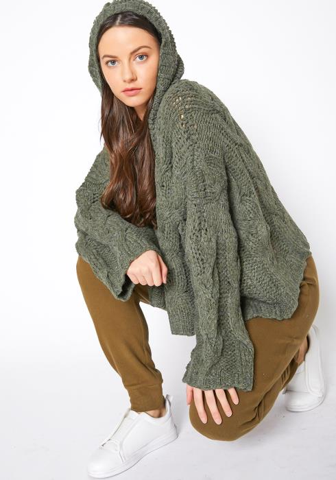 Tansy Cable Knit Womens Olive Hooded Sweater