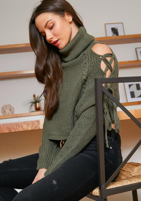 Tansy Laced Cold Shoulder Womens Roll Neck Sweater