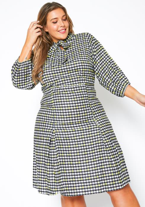 Asoph Plus Size Gingham Plaid Womens Bow Collar Fit & Flare Dress