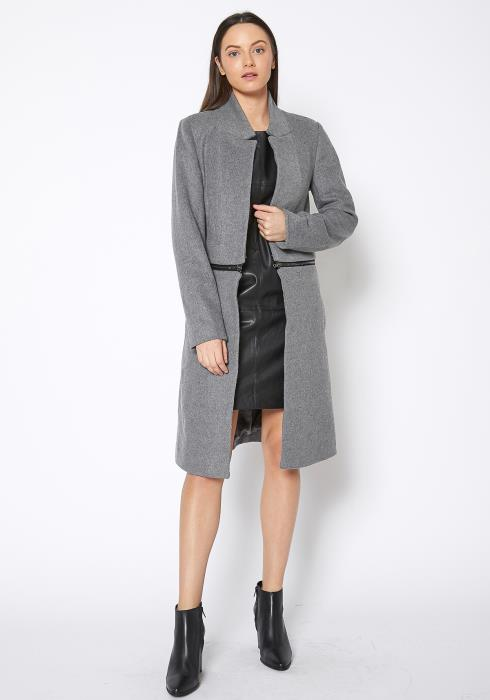 Ro & De 2 In 1 Brushed Wool Open Front Zipper Jacket