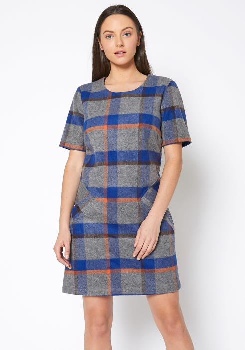 Ro & De Buffalo Plaid Wool Blend Tee Dress