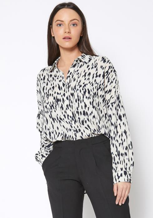 Ro & De Animal Printed Button Up Shirt