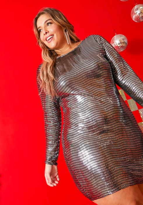 Asoph Plus Size Metallic Disco Party Dress