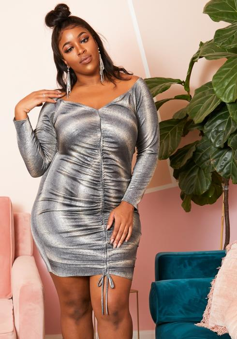 Asoph Plus Size Womens Silver Metallic Rippled Pattern Bodycon Dress
