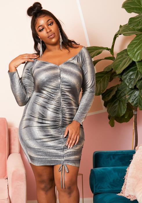 Asoph Plus Size Metallic Stripe Ruched Dress