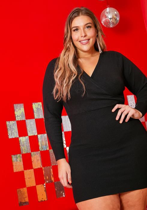 Asoph Plus Size Womens Bodycon Soft Knit Mini Dress