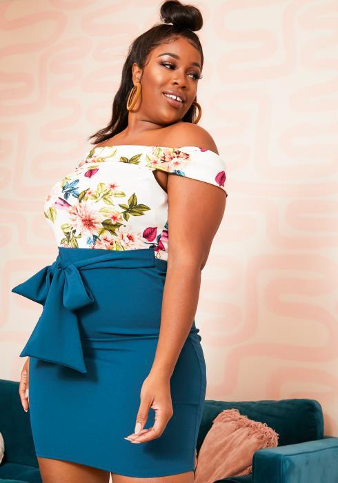 Asoph Plus Size Color Contrast Off Shoulder Floral Dress