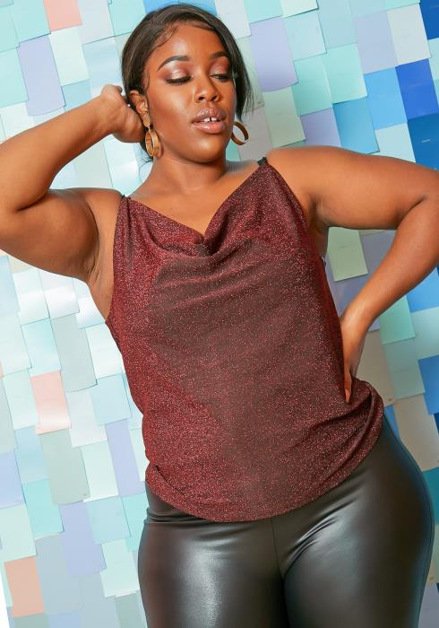 Asoph Plus Size Shimmering Cowl Neck Womens Cami Top