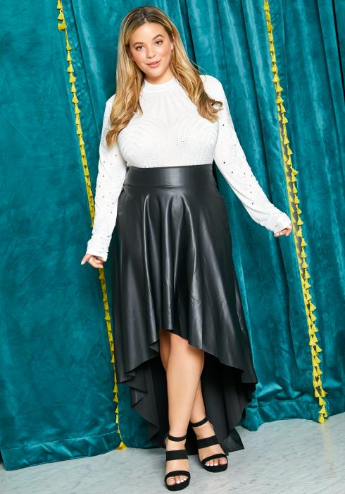 Asoph Plus Size PU Leather Womens High Low Maxi Skirt
