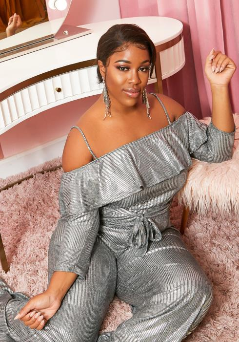 Asoph Plus Size Metallic Off Shoulder Party Jumpsuit