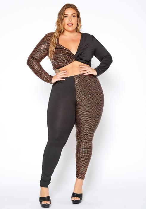 Asoph Curvy Womens Party Sequin Contrast Crop Top & Leggings Set
