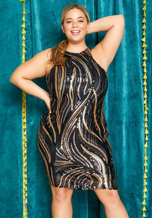 Asoph Plus Size Haltered Sequin Party Dress