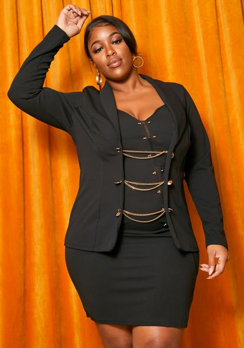 Asoph Plus Size Gold Chain Buttoned Womens Blazer
