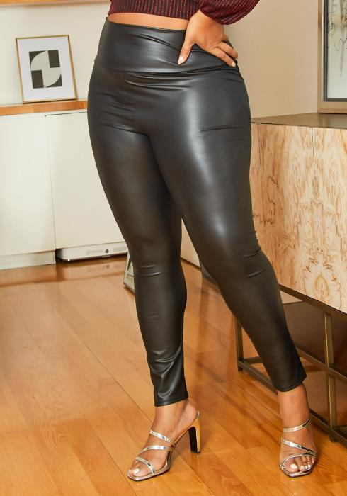 Asoph Plus Size PU Leather Stretchy Pants
