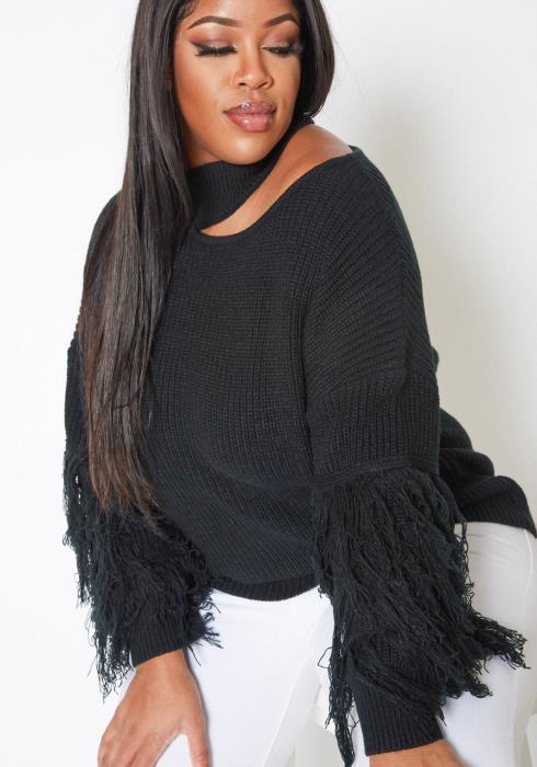 Asoph Plus Size Waffle Knit Cold Shoulder Mock Neck Sweater