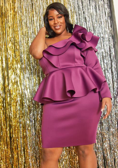 Asoph Plus Size Allover Ruffle One Shoulder Dress