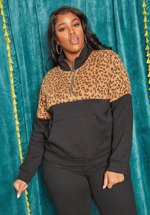Asoph Plus Size Leopard Contrast Womens High Neck Sweater