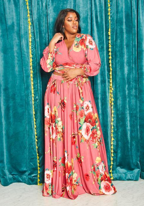 Asoph Plus Size Womens Rosey Bloom Wrap Blouse & Maxi Skirt Set