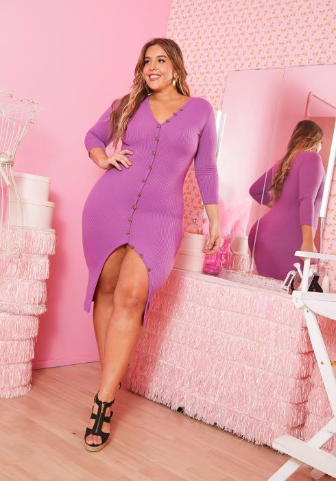 Asoph Plus Size Faux Buttoned Purple Ribbed Bodycon Dress