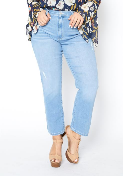 Asoph Curvy Womens Light Wash Fitted Straight Denim Jeans