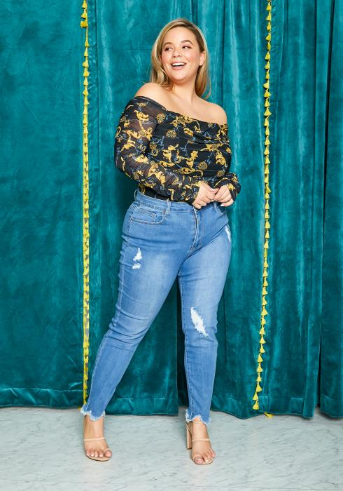 Asoph Curvy Womens Medium Washed Distressed Skinny Jean