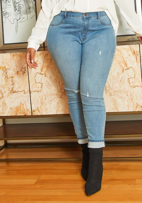 Asoph Plus Size Mid Waist Light Wash Jean
