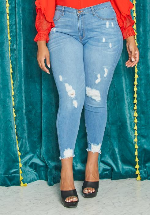 Asoph Curvy Womens Light Blue Washed Ankle Distressed Skinny Denim Jeans