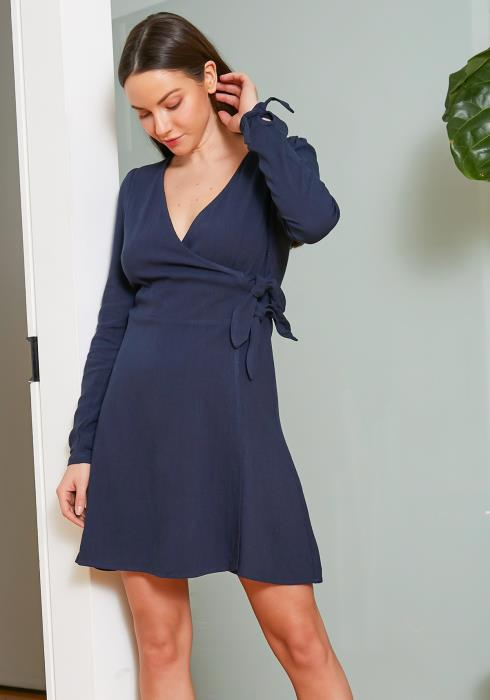 Tansy Navy Wrap Fit & Flare Womens Dress