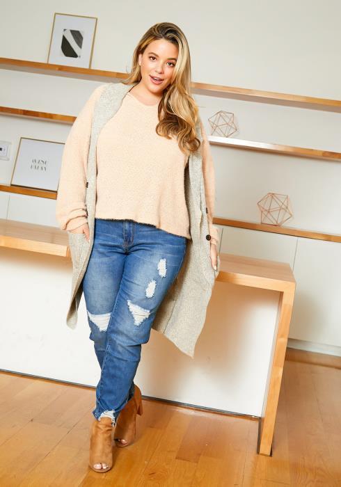 Asoph Plus Size Knitted Longline Womens Vest