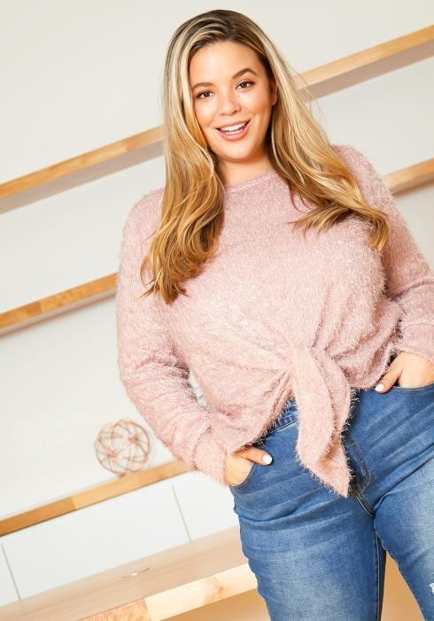 Asoph Plus Size Fuzzy Pink Knot Front Eyelash Sweater