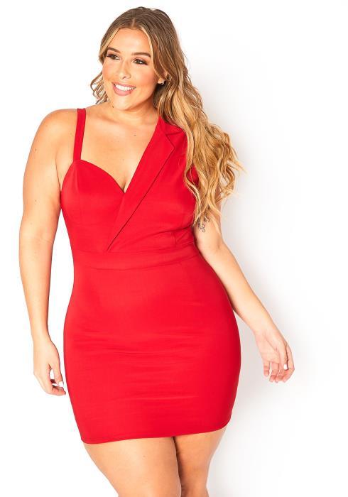 Asoph Curvy Womens Asymmetrical ShoulderParty Dress