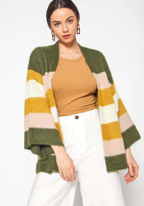 Tansy Shaggy Fur Womens Color Stripe Open Cardigan